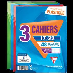 Cahiers CLAIREFONTAINE 17x22cm, 48 pages seyès, coloris assortis, 3unités