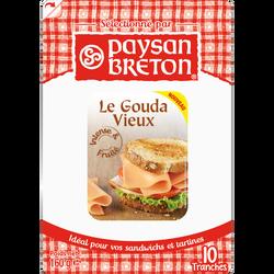 Gouda au lait pasteurisé PAYSAN BRETON, 48% de MG, 10 tranchettes, 160g