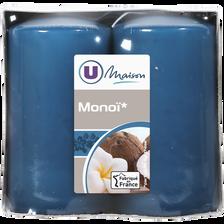 Bougies U MAISON, parfumées monoi, bleues, 2 unités