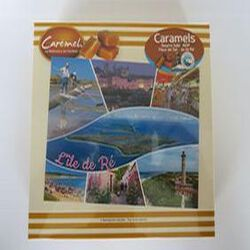 Caramels beurre salé AOP à la fleurs de sel de l'Île de Ré, 150gr, boite carte postale, Caremel, Maison Vallégias.