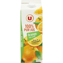 Pur jus orange sans pulpe U, brique 2 litres