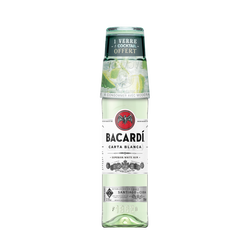 Alcool blanc à base et à sucre Carta blanca BACARDI, 37,5°, 70cl+verre