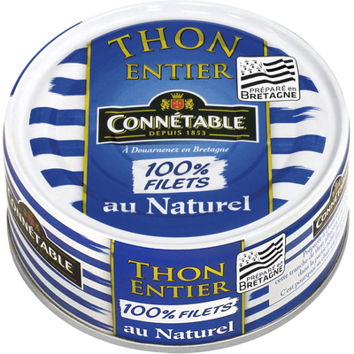 Thon albacore entier au naturel 100% filet CONNETABLE, 112g