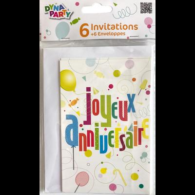 Invitations + enveloppes joyeux anniversaire FUN, 6 unités