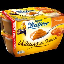 Crème dessert au caramel Velours de crème LA LAITIERE, 4x85g