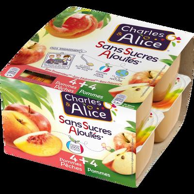 Dessert de fruits pommes & pommes pêches CHARLES & ALICE, x8 soit 800g