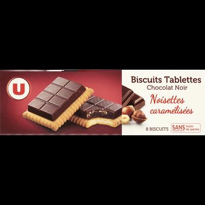 Biscuits tablettes au chocolat noir et noisettes caramélisées U, paquet de 145g
