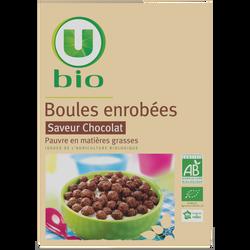 Boules enrobées saveur chocolat U BIO, paquet de 375g