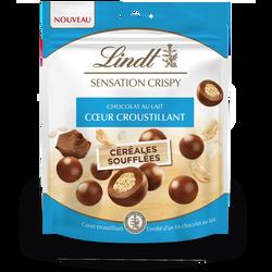 Bouchées de chocolat au lait et croustillant de céréales soufflées sensation crispy LINDT, sachet de 140g