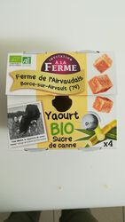 Yaourt Bio Sucre de canne 4x125g - La ferme de l'Airvaudais
