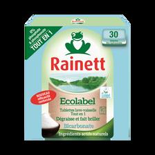 Tablette pour lave vaisselle ecolabel tout en un RAINETT, x30