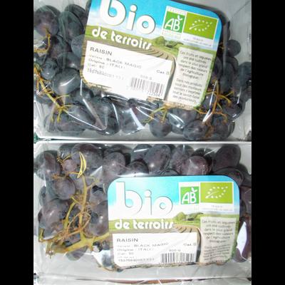 Raisin noir Black Magic, BIO, Catégorie 2, Italie, Barquette 500g