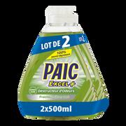 Paic  Liquide Vaisselle Destructeur D'odeurs Excel Plus Paic 2x500ml