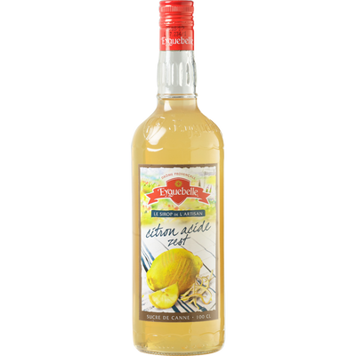 Sirop artisanal citron acide zest EYGUEBELLE, bouteille en verre de 1l