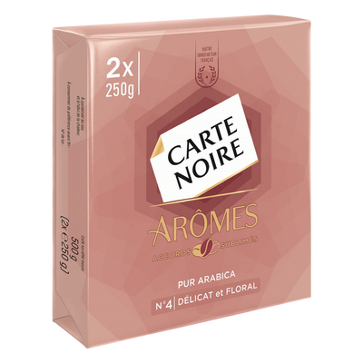 Café moulu arômes délicat et floral pur arabica n°4 CARTE NOIRE, 2 paquets de 250g