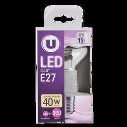 Led U, spot, r63, 40w, e27, transparent, lumière chaude