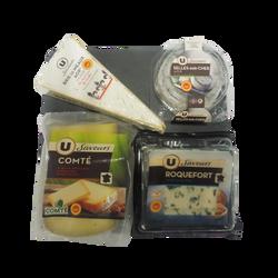 Plateau 4 fromages lait cru U SAVEURS, 750g