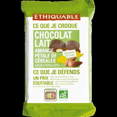 Chocolat lait 42% amandes entières pétales céréales Pérou bio ETHIQUABLE, 100g