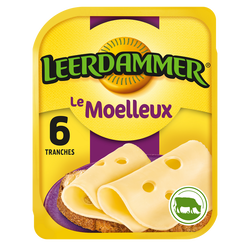 Fromage en tranches LEERDAMMER Le Moelleux 6 tranches, 150g