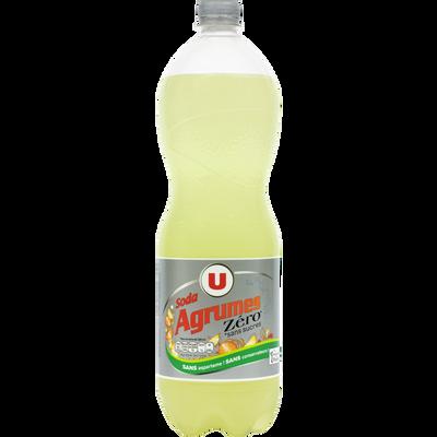 Soda saveur agrumes zéro sucre U, bouteille de 1,5l