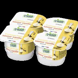 Fromage frais sucré saveur vanille au lait pasteurisé CAMPAGNE DE FRANCE, 2,5% de MG, 4x100g