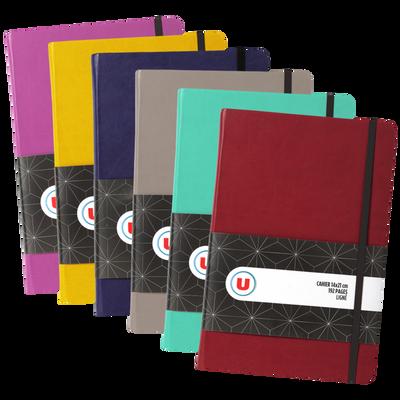 Petit cahier élastique U, 14x21cm, 192 pages, coloris assortis