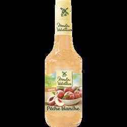 Sirop de pêche blanche MOULIN DE VALDONNE, bouteille en verre de 70cl
