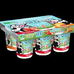 Yaourt à boire aux fruits bio fraise pêche LES 2 VACHES, 6x100g