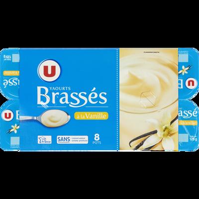 Yaourt brassé sucré à la vanille U, 8x125g