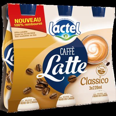 Boisson lactée UHT sucrée arômatisée au café classico LACTEL, 3 bouteilles de 220ml