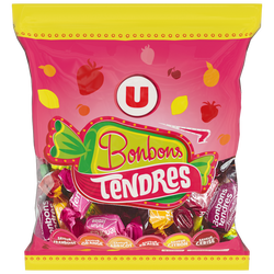 Bonbons tendres fruits U, 340g