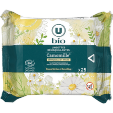 Lingettes démaquillantes à la camomille pour peaux sèches et sensiblesU BIO, x25