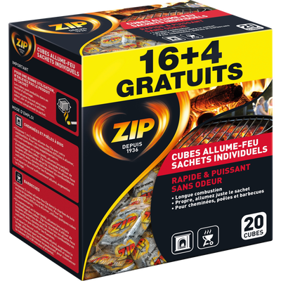 Cubes allume feu haute performance ZIP, sachet de 16 unités + 25% gratuit