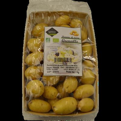 Pomme de terre grenaille Allians, de consommation à chair ferme, BIO,28/35mm, cat.2, France, barquette 1kg