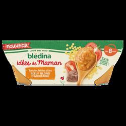 Bols pour bébé tomates/pâtes/b uf LES IDEES DE MAMAN BLEDINA, dès 8 mois, 2x200g
