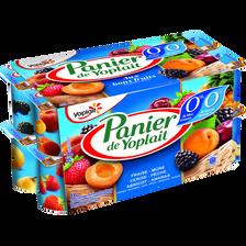 Spécialité laitière 0% sucres fruits panachés PANIER DE YOPLAIT, 0% deMG, 16x125g