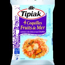 Coquilles de fruits de mer à la crème et aux échalotes TIPIAK, 4 unités, 360g
