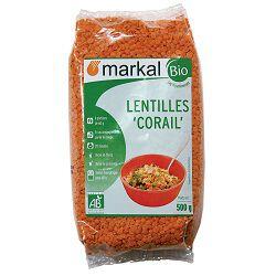 Lentilles corail BIO, MARKAL, le paquet de 500g