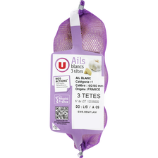 Ail blanc 3 têtes, U, calibre 60/80, France, filet 250g