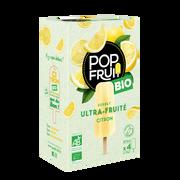 Pop Fruit Bâtonnets À L'eau Pop'fruit Citron Bio Maison De La Glace, X4