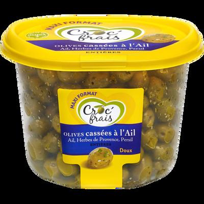 Olives cassées à l'ail, CROC'FRAIS, barquette 550g