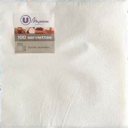 Serviettes en papier blanc U, 33x32cm, 100 unités