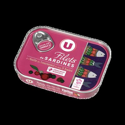 Filets de sardines à l'hle de tournesol & aux 5 baies U 100g