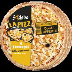 Pizza 4 fromages 40% de pâte fine et 4 variétés de fromages SODEBO, 3dont 1 offert 470g