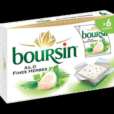 Fromage lait pasteurisé ail & fines herbes BOURSIN, 41%x6 96g coffretde 96g