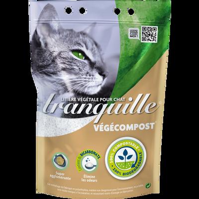 Litière végétale pour chat végécompost & bicarbonate TRANQUILLE, sac de 4l