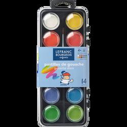 Peinture à l'eau LEFRANC ET BOURGEOIS, avec pinceau, boîte de 12 pastilles, coloris assortis