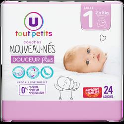 Couches douceur plus nouveaux-nés taille 1 2/5kg U TOUT PETITS,  sachet de 24
