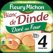 Blanc de dinde doré au four FLEURY MICHON, 4 tranches, 160g