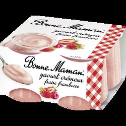 Yaourt crémeux fraise et framboise BONNE MAMAN, 4x125g